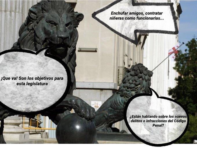 Os dejo una sonrisa de la categoría de los leones del Congreso. Tuit de Con #Humor Español